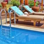 Sunbathing around the pool